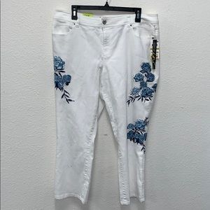 Inc straight leg white jeans